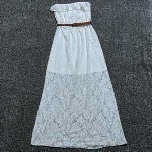 Trixxi White Lace Strapless Maxi Dress Size Small